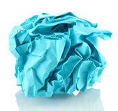 Blue crumpled paper ball isolated on white — Stock Photo
