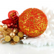 Stock Photo: Composition of Christmas balls isolated on white