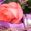 Beautiful pink rose with heart pendant — Stock Photo #36384837
