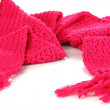 Warm knitted scarf pink isolated on white — Stock Photo #36384923