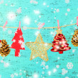 Christmas decorations on wooden background — Stok fotoğraf