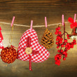 Christmas decorations on wooden background — Photo