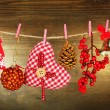 Christmas decorations on wooden background — Stock fotografie
