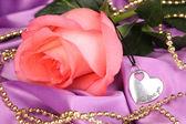 美しいピンクのバラとハート ペンダント — ストック写真