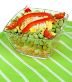 Tasty salad with fresh vegetables, isolated on white — Stock Photo