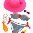 Swimsuit and beach items isolated on white — Stock Photo #36426989