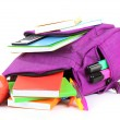 Purple backpack with school supplies isolated on white — Stock Photo #36428119