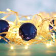 Christmas ornaments and garland close-up — Stockfoto