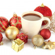 Cup of hot cacao with Christmas decorations isolated on white — Stock Photo