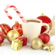 Cup of hot cacao with Christmas decorations isolated on white — Stock Photo #36428517