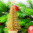 Decorative Christmas tree, fir tree branch, isolated on white — Stock Photo #36428633