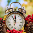 Old clock on autumn leaves on wooden table on natural background — Stock Photo #36428721
