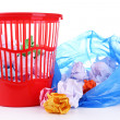 Stock Photo: Garbage bin and plastic trash bag, isolated on white