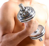 Handsome young muscular sportsman execute exercise with dumbbell, isolated on white — Stock Photo