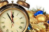 Composition of clock and christmas decorations close-up — Stock Photo