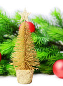 Decorative Christmas tree, fir tree branch, isolated on white — Stock Photo