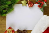 Letter for santa with Christmas hat on table close-up — Stock Photo