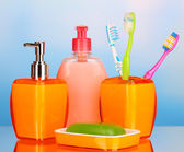 Bathroom set on blue background — Stock Photo