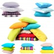 Stock Photo: Collage of color pillows