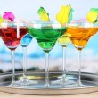 Different cocktails on bright background — Foto Stock