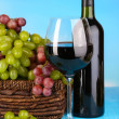 Ripe green and purple grapes in basket with wine on wooden table on natural background — Stock Photo