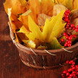 Beautiful autumn leaves and red berries in basket on wooden background — Zdjęcie stockowe