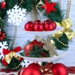 Christmas decorations on dessert stand, on  color wooden background — ストック写真
