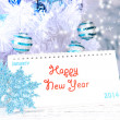 Calendar with New Year decorations on winter background — Стоковая фотография