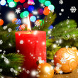 Composition with Burning candle, fir tree and Christmas decorations on multicolor lights background — Foto de Stock