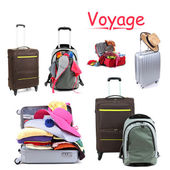 Collage of luggage for travel — Stock Photo