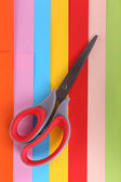 Colorful cardboard and scissors close-up — Stock Photo