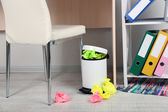 Garbage bin, on office background — Stock Photo
