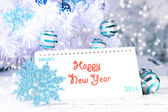Calendar with New Year decorations on winter background — Foto Stock