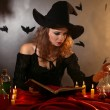 Halloween witch on dark background — Foto de stock #36492971