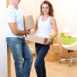 Stock Photo: Young couple moves into new home