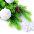 Christmas balls and snowflake on fir tree, isolated on white — Stock Photo