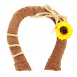 Stock Photo: Decorative horseshoe of straw with sunflower, isolated on white
