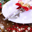 Stock Photo: Decorated Christmas table setting