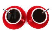 Rojos tazas de café fuerte aislado en blanco — Foto de Stock