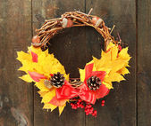 Beautiful Thanksgiving wreath, on wooden background — Foto de Stock