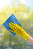Hands with spray cleaning the window — Stockfoto