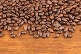 Grãos de girassol no chocolate, no fundo de madeira marrom — Foto Stock