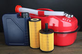 Diesel and oil canisters on grey background — Stock Photo