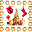 Foto de Stock  : Group of Christmas objects isolated on white