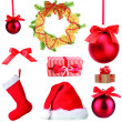 Stock Photo: Group of Christmas objects isolated on white