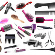 Collage of hairdressing tools isolated on white — Stock fotografie #36563259
