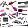 Collage of hairdressing tools isolated on white — Stock Photo #36563259