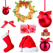 Group of Christmas objects isolated on white — Stok fotoğraf