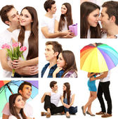 Colagem de casal feliz — Fotografia Stock