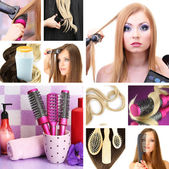 Hairdressing collage — Stock Photo